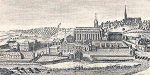 Lobbes Abbey - Image: Lobbes, abbaye avant 1794 (gravure)