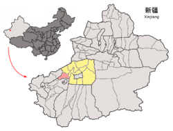 Location of Kalpin County (red) within Aksu Prefecture (yellow) and Xinjiang