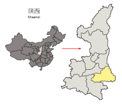 Location of Shangluo Prefecture within Shaanxi