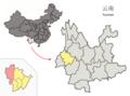 Location of Tengchong within Yunnan (China).png