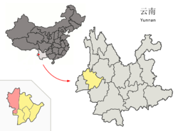 Location of Tengchong County (pink) in Baoshan City (yellow) and Yunnan