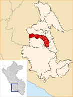 Location of the province Víctor Fajardo in Ayacucho.svg