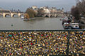 Lock covered side of the Pont du Arts with the Ile de Cite that background, Paris 2013.jpg
