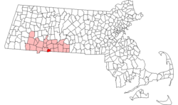 Locatie van Hampden County in Massachusetts.
