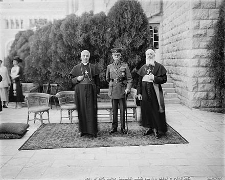 Alessio Ascalesi, the Archbishop of Naples, with Herbert Plumer, 1st Viscount Plumer, and Luigi Barlassina, the Latin Patriarch of Jerusalem, on the right, 11 August 1926