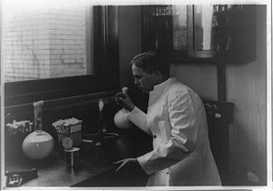 Lore Alford Rogers - Lore Rogers, working in laboratory at the United States Department of Agriculture.