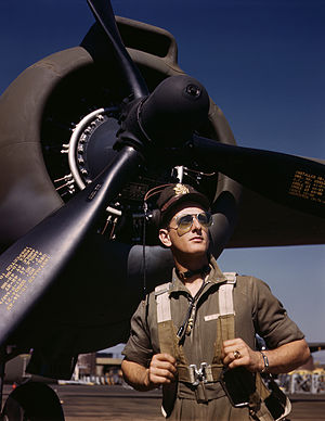 "Aircraft pilot - U.S. Army test pilot Lt. F.W. ""Mike"" Hunter wearing a flight suit in October 1942"