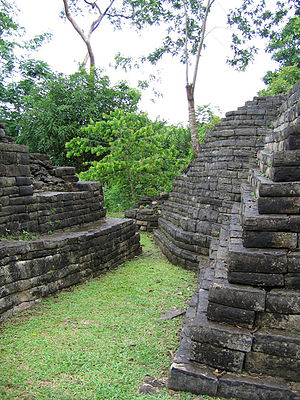 Lubaantun - Bases of temple platforms at Lubaantun.