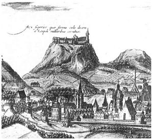 Lviv - Lviv High Castle, fragment of engraving by A. Gogenberg, 17th century