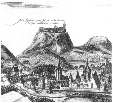Lviv High Castle, fragment of engraving by A. Gogenberg, 17th century Lviv High Castle (Engraving).jpg
