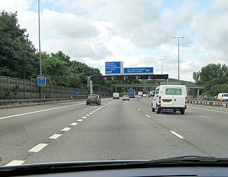 M5 motorway - The M5 motorway south of the Avonmouth Bridge, near Bristol.