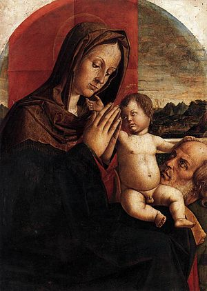 Bartolomeo Montagna - Example of a late work of Montagna, Madonna and Child with Saint Joseph (c. 1520, tempera/canvas)