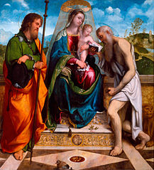 Madonna enthroned with child with Saints James the Greater and Jerome