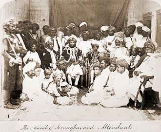 Junagadh State - Mohammad Mahabat Khanji II, the Nawab of Junagarh, with young, Mohammad Bahadur Khanji III, 1870s