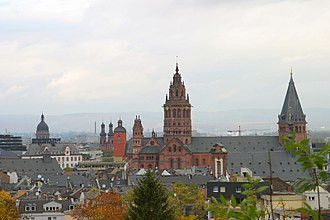 Mainz - Mainz Old Town view from the citadel (November 2003)