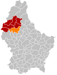 Map of Luxembourg with Esch-sur-Sûre highlighted in orange, the district in dark grey, and the canton in dark red