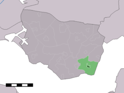 The town centre (dark green) and the statistical district (light green) of Baarland in the municipality of Borsele.