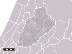 The hamlet (darkgreen) and the statistical district (lightgreen) of Burgerveen in the municipality of Haarlemmermeer.