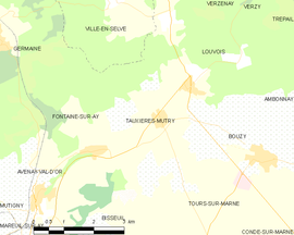 Mapa obce Tauxières-Mutry