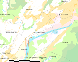 Mapa obce Gilly-sur-Isère