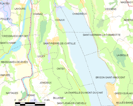 Mapa obce Saint-Pierre-de-Curtille