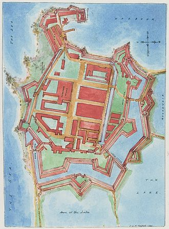 Fort (Colombo) - A copy of the oldest known map of Colombo Fort by J. L. K. van Dort