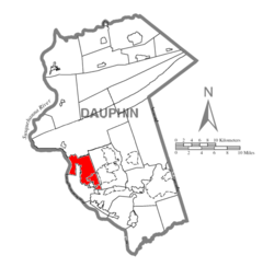 Map of Dauphin County, Pennsylvania Highlighting Susquehanna Township.PNG