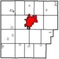 Map of Hancock County Ohio Highlighting Findlay.png