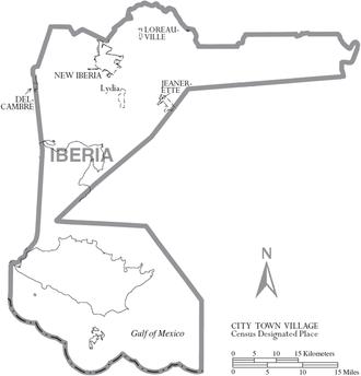Iberia Parish, Louisiana - Map of Iberia Parish, Louisiana With Municipal Labels