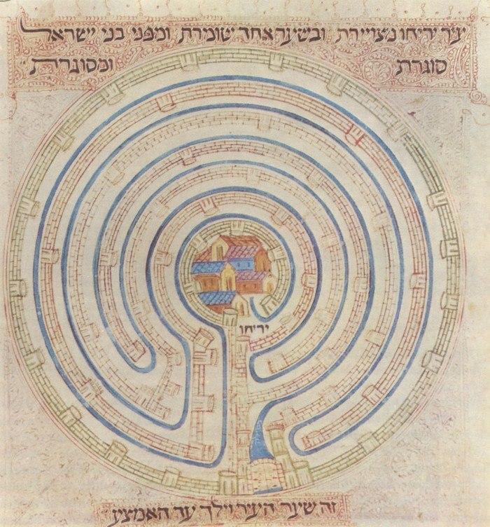 Map of Jericho in 14c Farhi Bible by Elisha ben Avraham Crescas