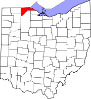 Map of Ohio highlighting Lucas County