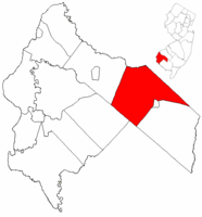 Upper Pittsgrove Township highlighted in Salem County. Inset map: Salem County highlighted in the State of New Jersey.