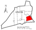 Map of Union County, Pennsylvania Highlighting East Buffalo Township.PNG