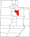 State map highlighting Wasatch County
