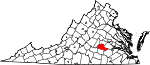 State map highlighting Amelia County