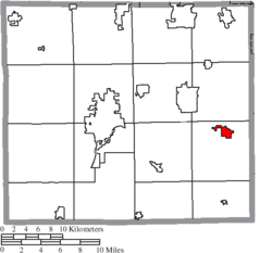 Location of Dalton in Wayne County