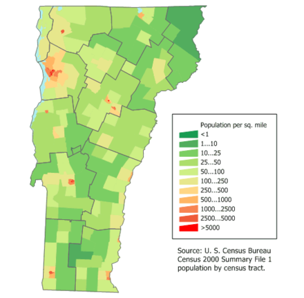 Population density of Vermont Maps of Vermont population.png