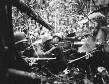 Marines manning a defensive position in the jungle. There is a medium machine gun, as personnel operating individual small arms.