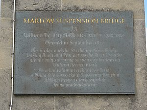Marlow Bridge - Commemorative plaque on the Marlow Bridge