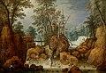 Marten Rijckaert - A fisherman in a river in a wooded landscape.jpg
