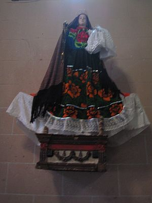 Pátzcuaro - A statue of the Virgin Mary in indigenous garb