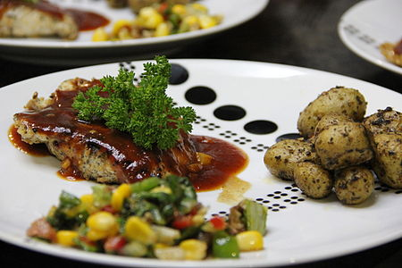 Masala Grilled Chicken with Baby Potatoes, Salad.JPG