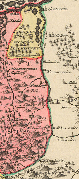 Biała (Vistula) - Biała as a border river on a map from the 18th century