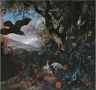 Matthias Withoos - Landscape with birds and flowers in the underbrush of a wood
