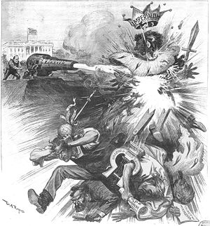 "Straw man - U.S. President William McKinley has shot a cannon (labeled McKinley's Letter) which has involved a ""straw man"" and its constructors (Carl Schurz, Oswald Garrison Villard, Richard Olney) in a great explosion. Caption: S M A S H E D !, Harper's Weekly, September 22, 1900"