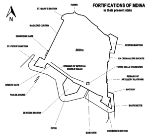 Mdina fortifications map.png