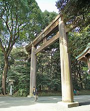 A torii at Meiji Shrine, one of the largest green spaces in Tokyo.