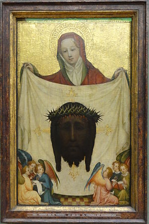 Master of Saint Veronica - Saint  Veronica with the Holy Kerchief, c 1420. Alte Pinakothek, Munich