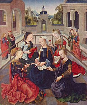 The Virgin and Child with Four Holy Virgins - Image: Meister der Virgo inter Virgines 002