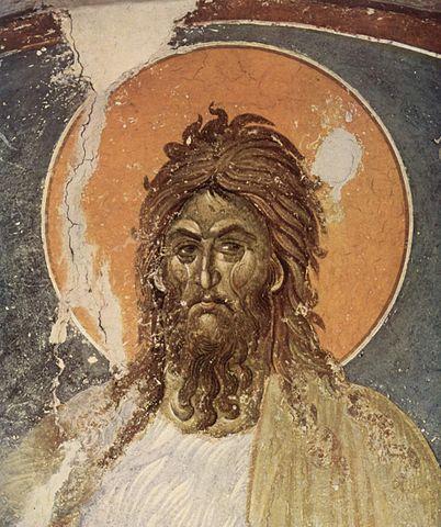 Иоанн Креститель. Православная фреска, монастырь Грачаница, неизвестный сербский художник, XIV век.